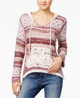 American Rag Striped Crochet-Trim Hoodie Sweater, Only at Macy's