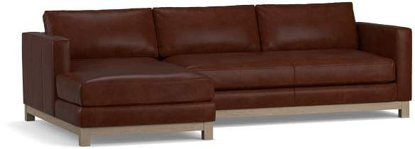 Jake Leather Wood Base Sofa With Chaise Sectional