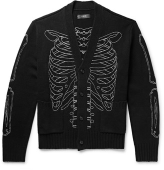 Amiri Skeleton Embroidered Knitted Cardigan