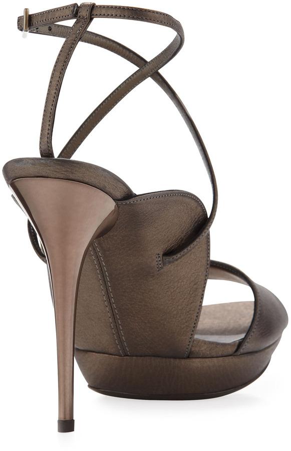 Salvatore Ferragamo Gilina Crisscross Ankle-Wrap Sandal, Mercurio