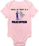 Laughing Giraffe Relax, My Daddy Is a Police Officer Fun Cute Infant Bodysuit for Boys and Girls (0-3 Months, )