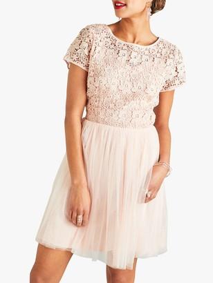 Yumi Floral Lace Top Dress, Blush