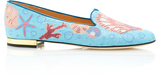 Charlotte Olympia M'O Exclusive: Oceanic Embroidered Canvas Slippers