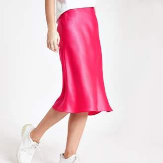 River Island Womens Pink bias cut midi skirt
