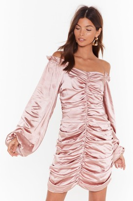 Nasty Gal Womens Sleeve It to Me Off-the-Shoulder Satin Dress - Pink - 6, Pink