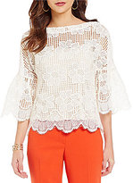 Trina Turk September Scalloped Lace Bell Sleeve Top