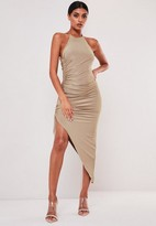 Missguided Sofia Richie X Taupe Slinky Ruched Racer Back Midi Dress