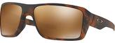 Oakley Oo9380 Double Edge Prizm Polarised Rectangular Sunglasses, Tortoise/mirror Brown