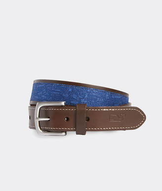 Vineyard Vines Sail the Yard Leather Club Belt