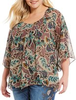 Democracy Plus Bell Sleeve Asymmetrical Front High-Low Blouse