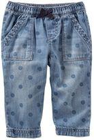 Osh Kosh Baby Girl Polka-Dot Chambray Pants