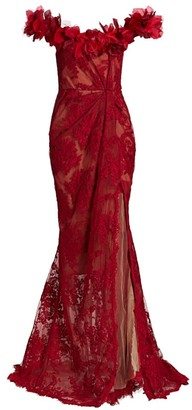 Marchesa Floral Lace Off-The-Shoulder Gown