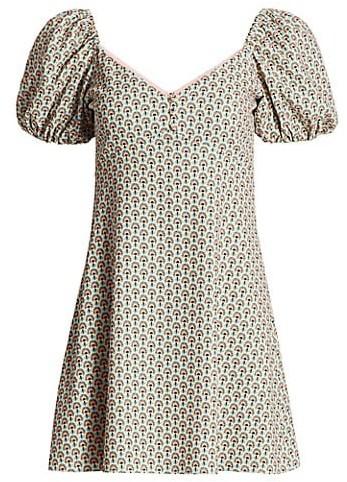 Alice + Olivia Dana Puff-Sleeve Empire Mini Dress