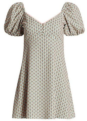 Alice + Olivia Dana Puff-Sleeve Empire Mini Dress