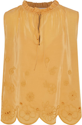 See by Chloe Ruffle-trimmed Broderie Anglaise Crepe De Chine Blouse