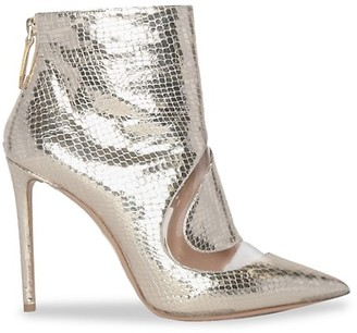 Nicholas Kirkwood S Metallic Snakeskin-Embossed Leather Ankle Boots