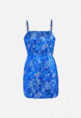 Missguided Blue Brocade Cami A Line Mini Dress