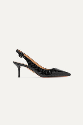 Aquazzura Pure 60 Glossed Croc-effect Leather Slingback Pumps - Black