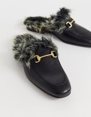 Asos DESIGN backless mule loafer in black leather with faux fur lining
