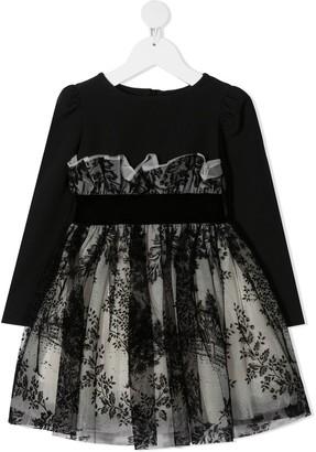 MonnaLisa High Waisted Tulle Overlay Dress