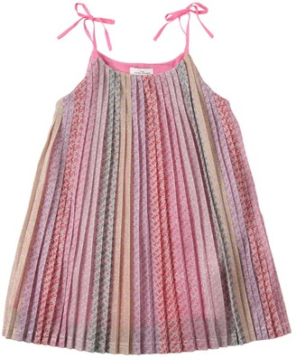 Little Marc Jacobs All Over Logo Pleated Dress