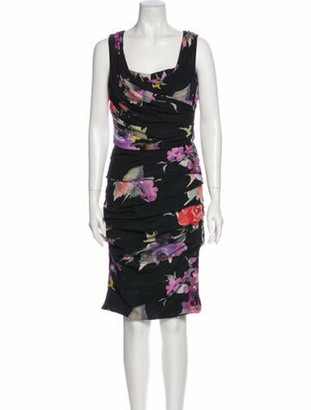 Dolce & Gabbana Silk Knee-Length Dress w/ Tags Black