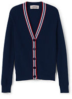 Classic Little Girls V-Neck Ribbed Cardigan-Midnight Navy