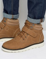 Brave Soul Lace Up Boots With Borg Lining Tan