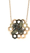 Sterling Silver Honeycomb Bee Black Cz Necklace in Rose Gold