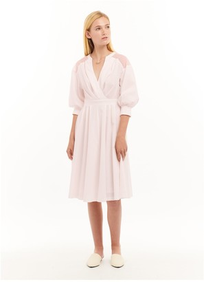 Jessie Liu V-Neck Dress with Bishop Sleeves - Lucy