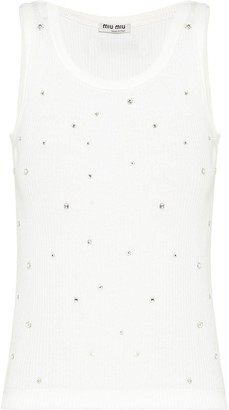 Miu Miu Crystal-Embellished Rib-Knit Tank Top