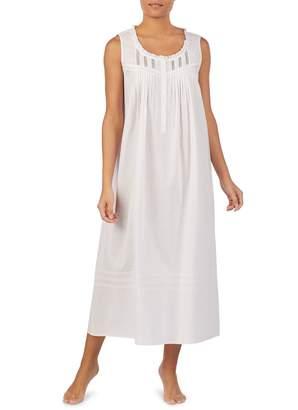 Eileen West Rachelle Lace-Trimmed Long Cotton Nightgown