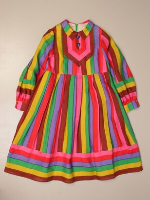 Gucci Linen Dress With Multicolor Bands