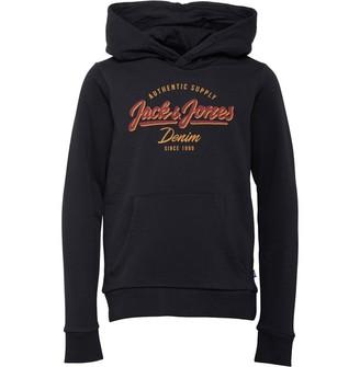Jack and Jones Junior Boys Logo Sweat Hoodie Black