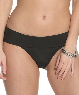Sun And Sea Sun and Sea Women's Bikini Bottoms BLACK - Black Fold-Over Bikini Bottoms - Women