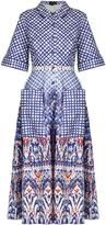 Saloni Natalie contrast-print stretch-cotton shirtdress
