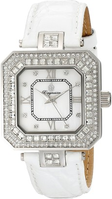 Burgmeister Sevilla Women's Quartz Watch with Silver Dial Analogue Display and White Leather Strap BM171-116A