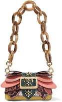 Burberry Embellished Watersnake, Ostrich And Textured-leather Shoulder Bag - one size
