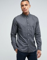 Esprit Slim Fit Long Sleeve Shirt with Button Down Collar in Brushed Cotton