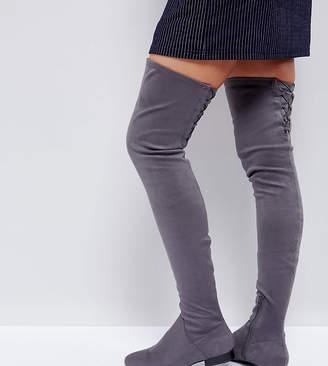 Asos Design KASBA Flat Over The Knee Boots-Grey