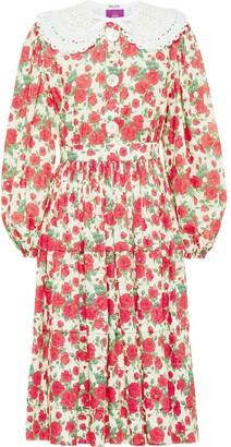 Miu Miu Floral Print Poplin Midi Dress