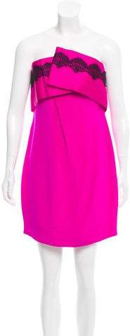 Marchesa Lace-Trimmed Mini Dress