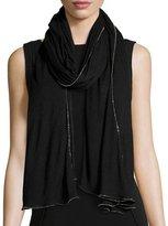 Faliero Sarti Chantilly Beaded Cashmere & Silk Scarf, Black