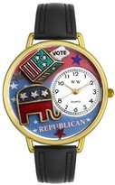 Whimsical Watches Women's G1110003 Unisex Gold Republican Black Leather And Goldtone Watch
