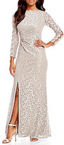 Cachet Metallic Lace Long Sleeve Gown