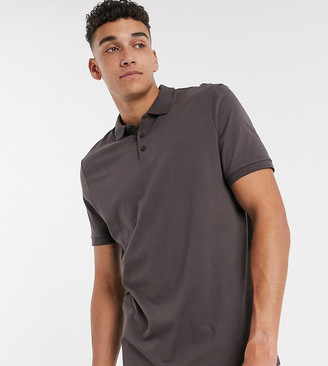 ASOS DESIGN Tall organic jersey polo in brown