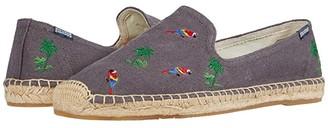 Soludos Palms + Parrots Smoking Slipper (Grey) Men's Shoes