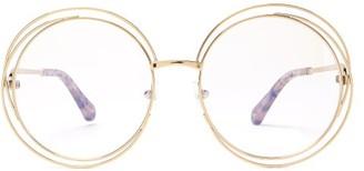 Chloé Carlina Round-frame Glasses - Womens - Gold
