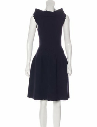 Alaia Virgin Wool Textured Dress Navy