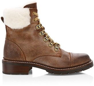 Frye Samantha Shearling Leather Hiking Boots
